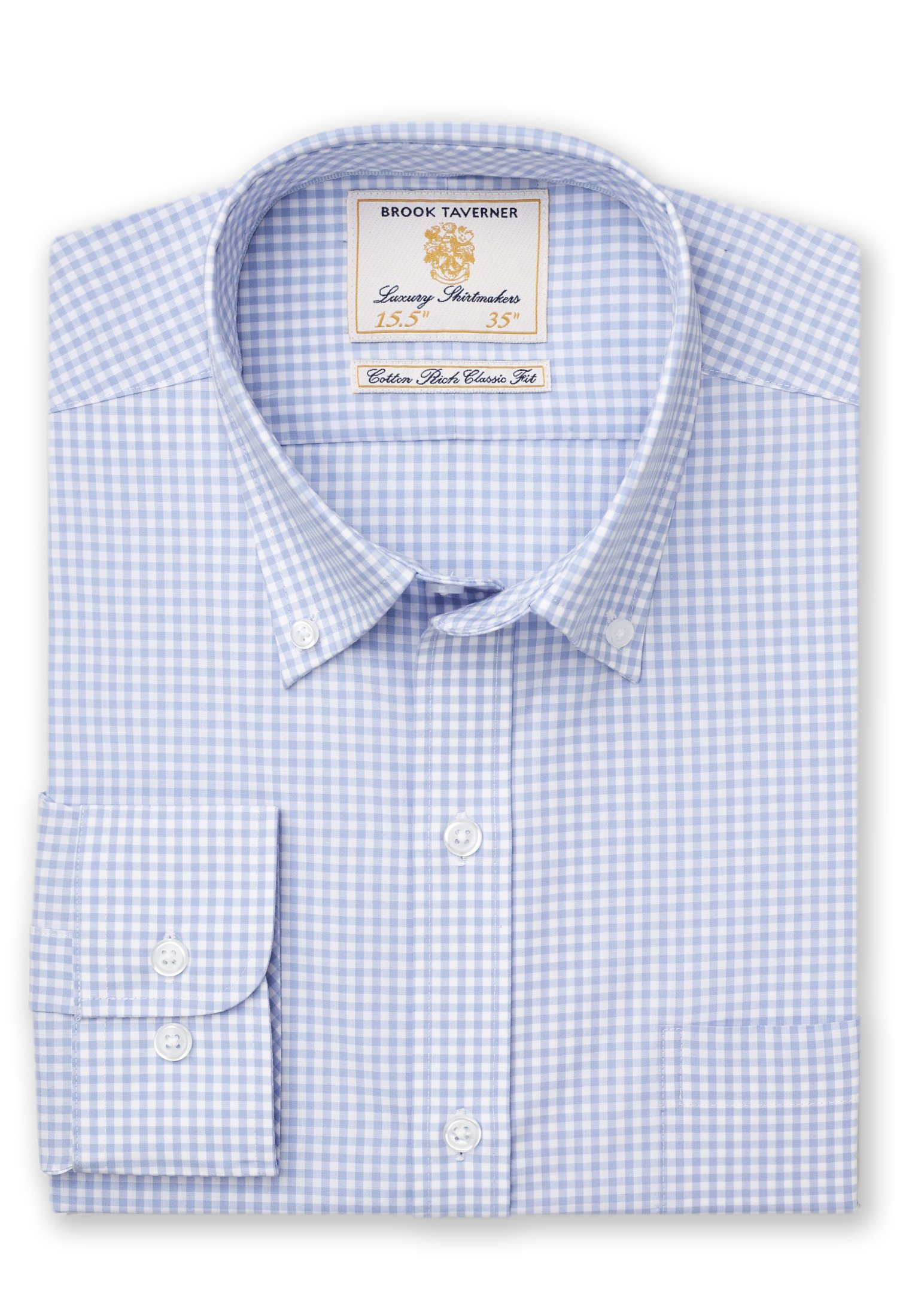 Brook Taverner Gingam Check Long Sleeve shirt in Sky