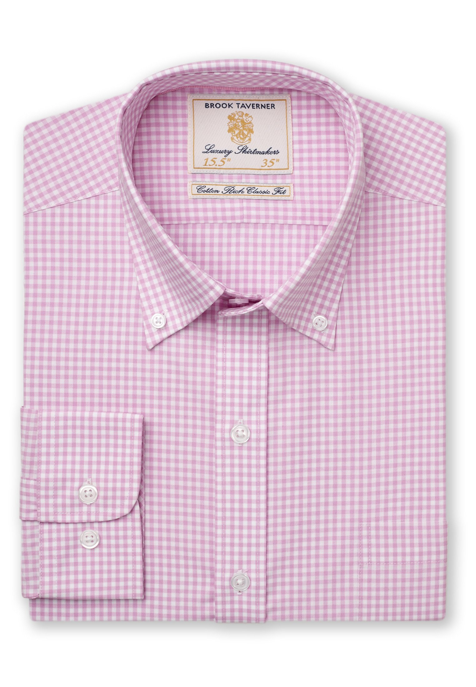 Brook Taverner Gingam Check Long Sleeve shirt in Pink