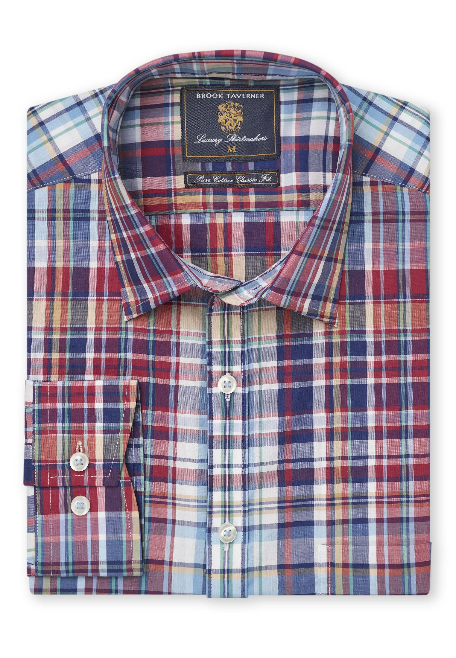 Brook Taverner Long Sleeve Point collar casual tartan shirt
