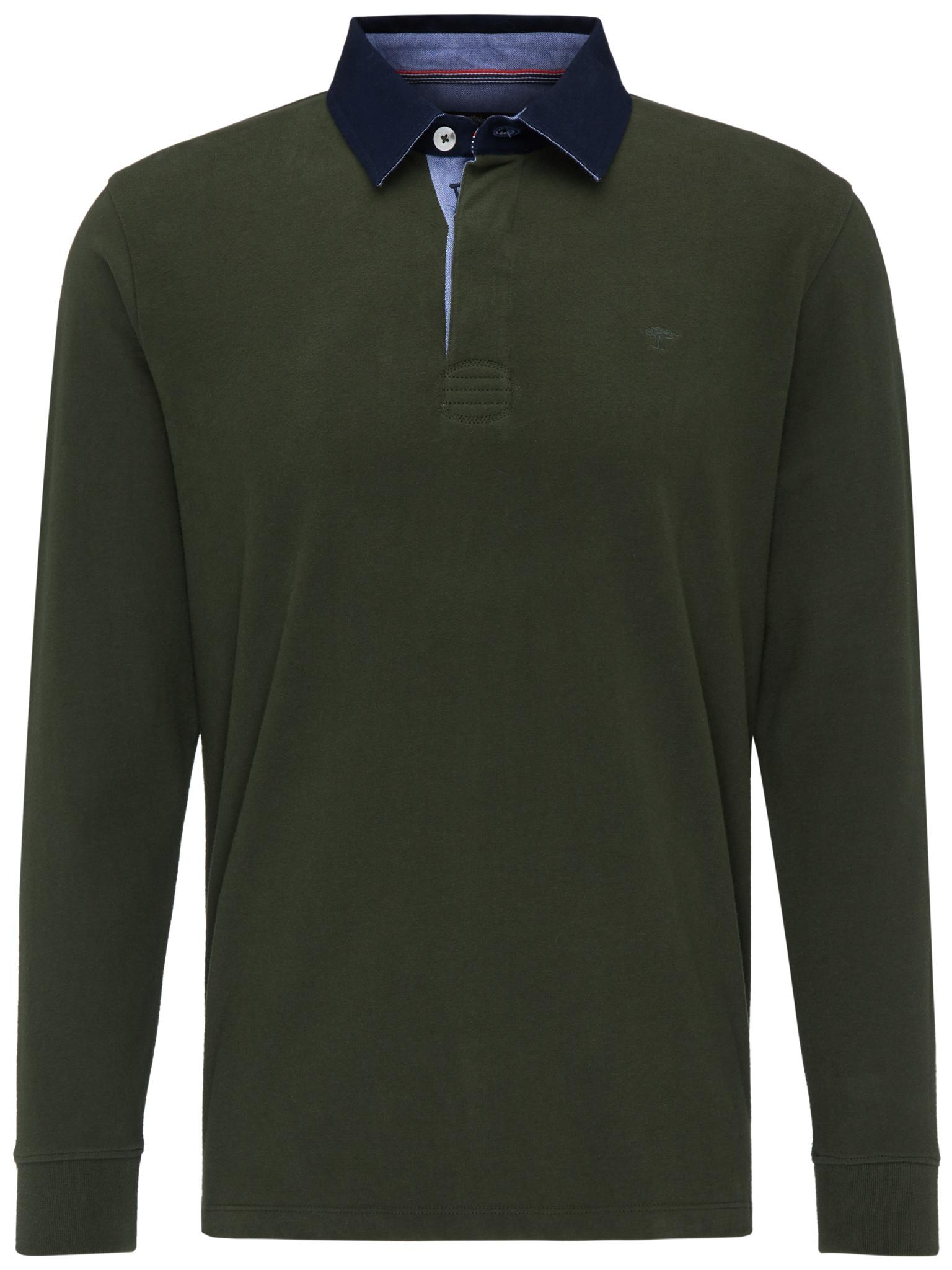 Fynch Hatton cotton half zip knit in green