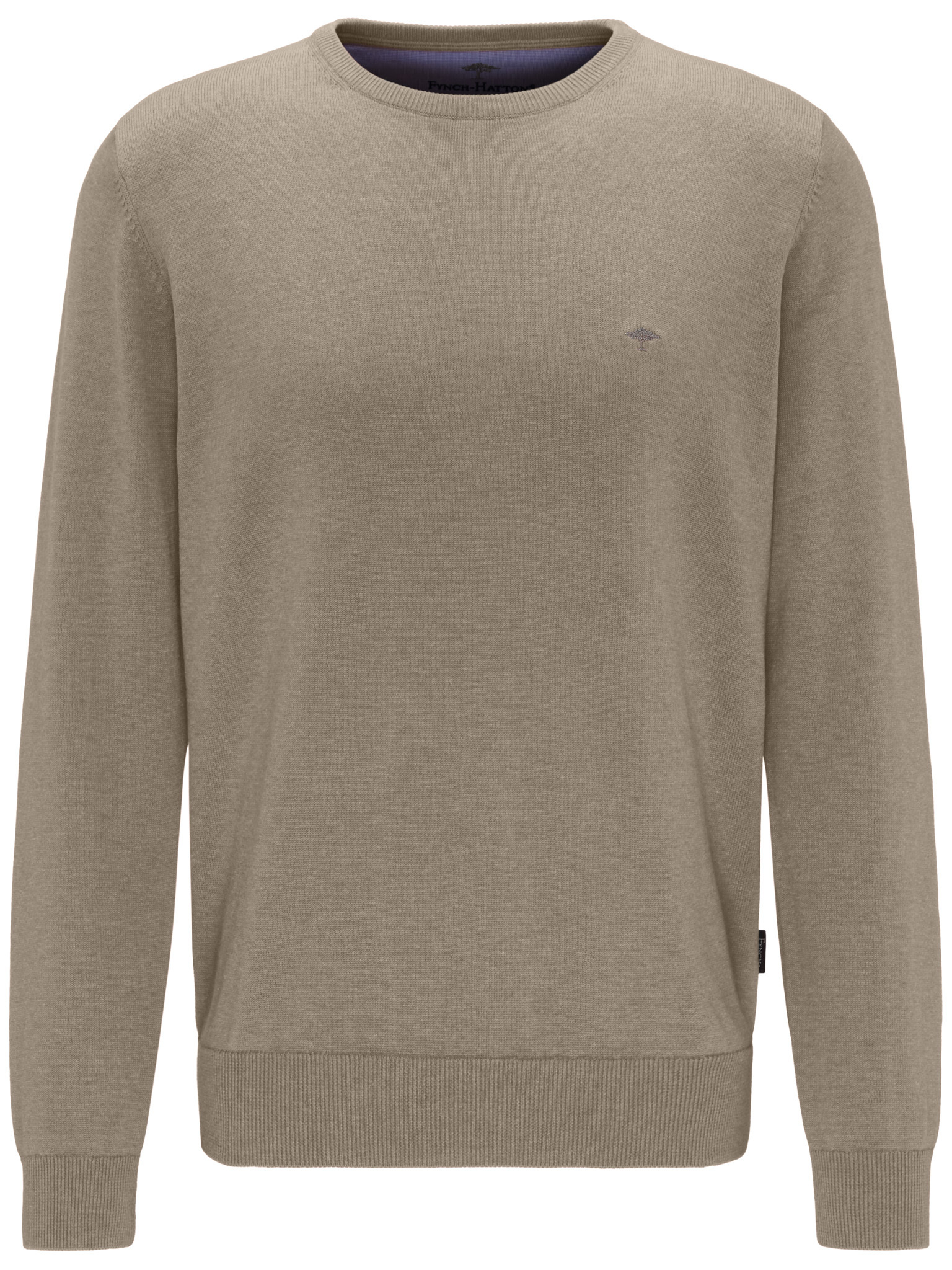 Fynch Hatton cotton crew neck sweater in taupe