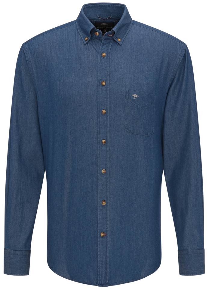 Fynch Hatton denim shirt in dark blue.