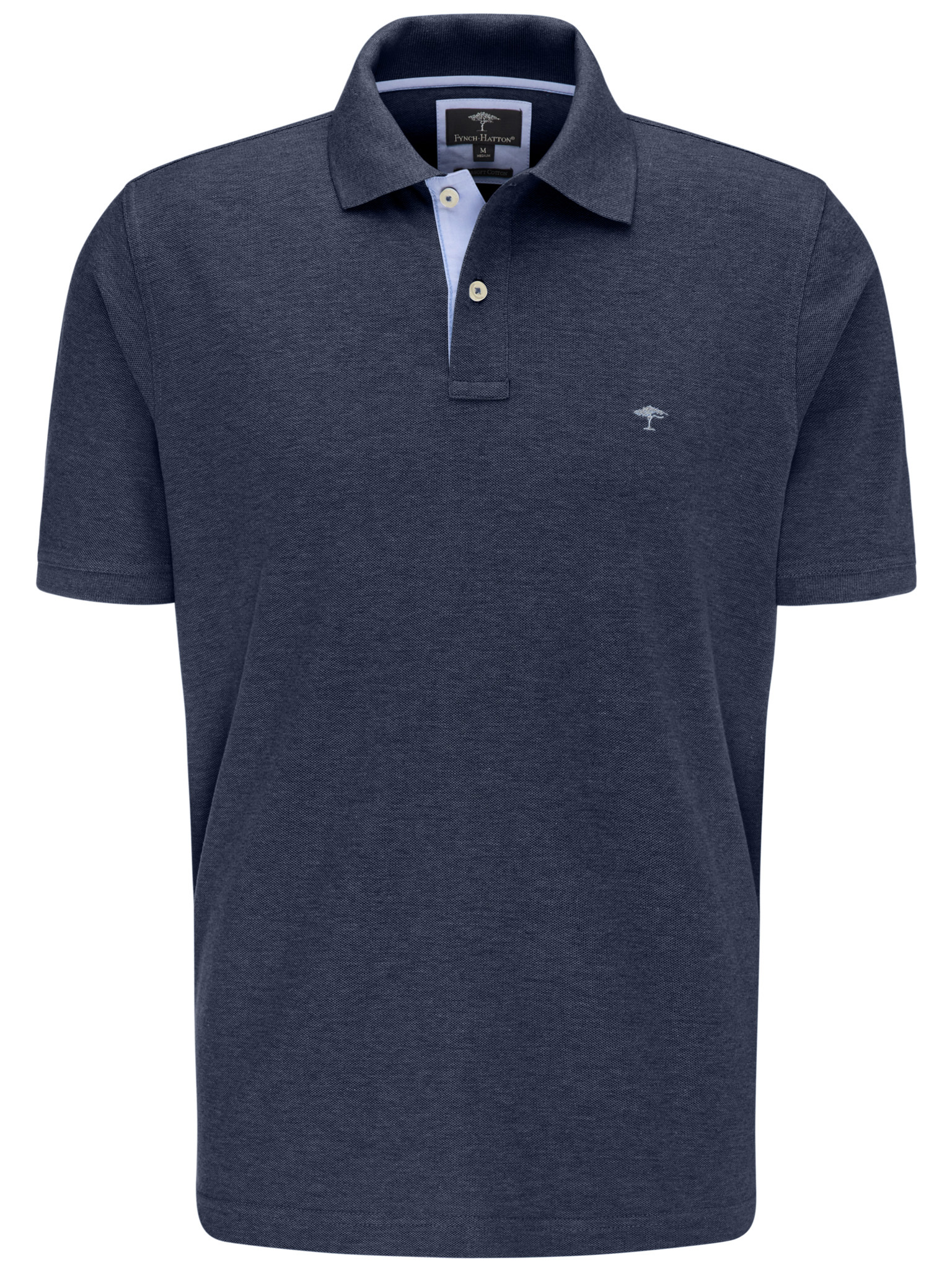 Fynch Hatton cotton polo in navy blue