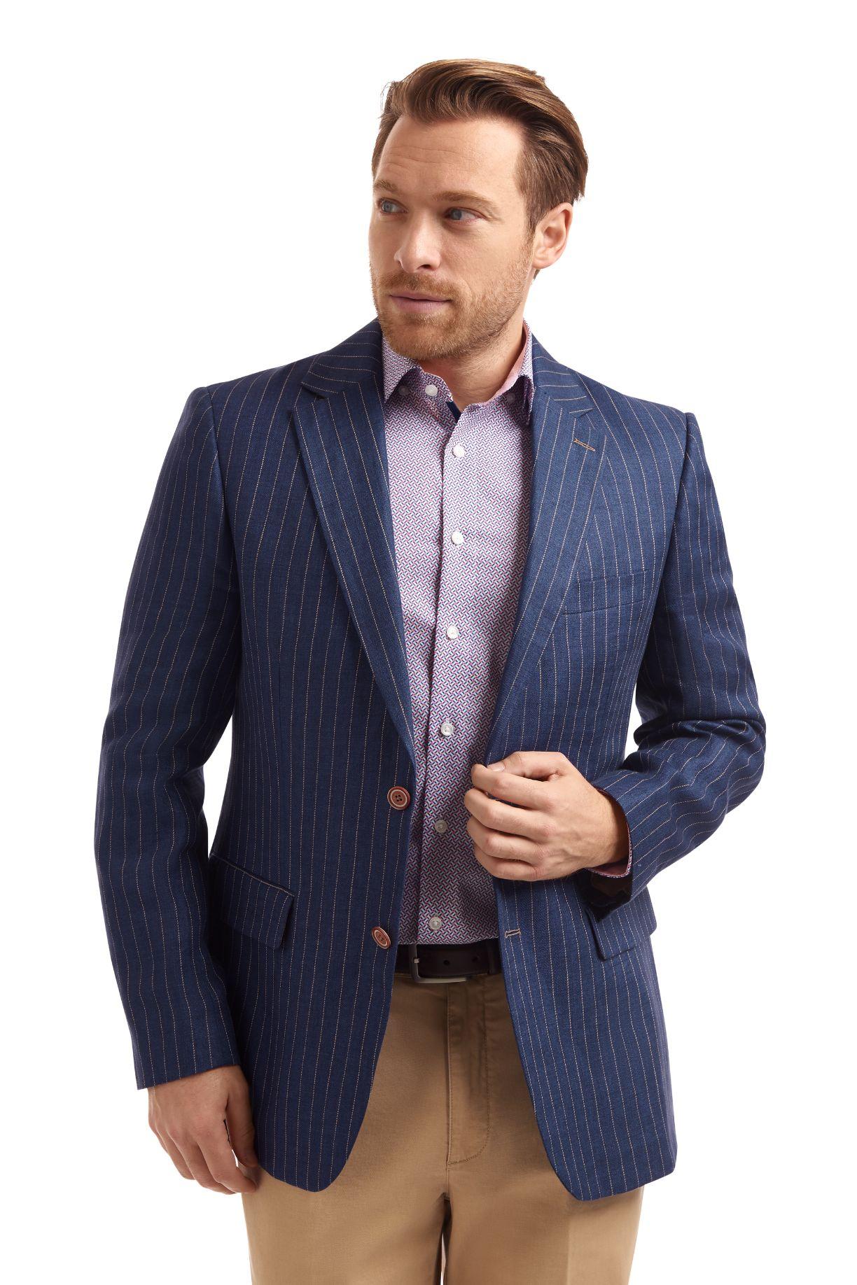 Gurteen navy linen jacket with sand stripe