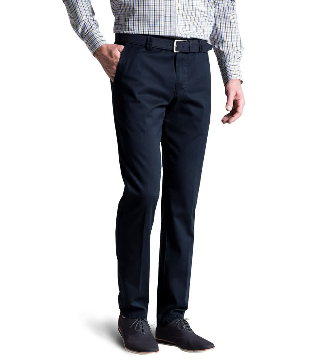 Meyer Navy Roma cotton stretch trousers