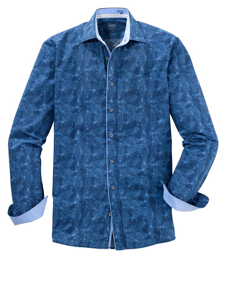 Olymp Blue Fish Printed shirt
