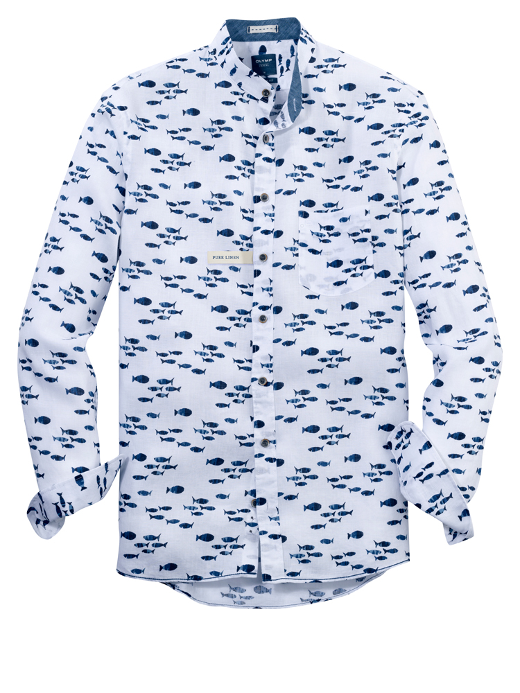 Olymp White Shirt with fish print