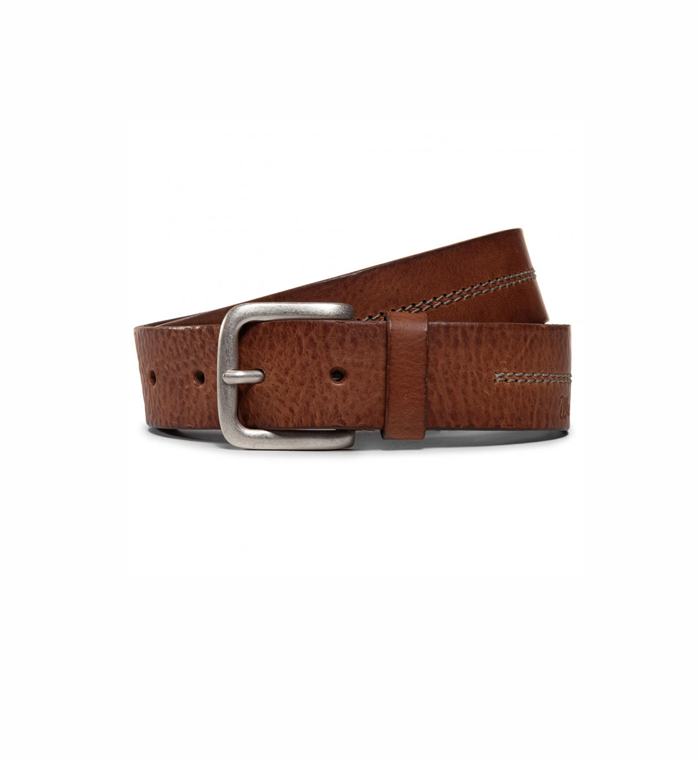 Wrangler double stitch belt in cognac