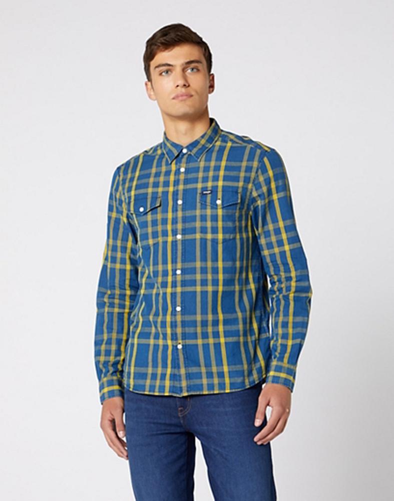 Wrangler Long Sleeve Two Pocket Flap Shirt in Lemon Chrome