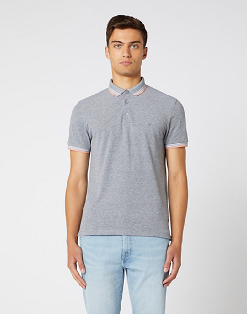 Wrangler Short Sleeve Refined Polo in Cold Grey