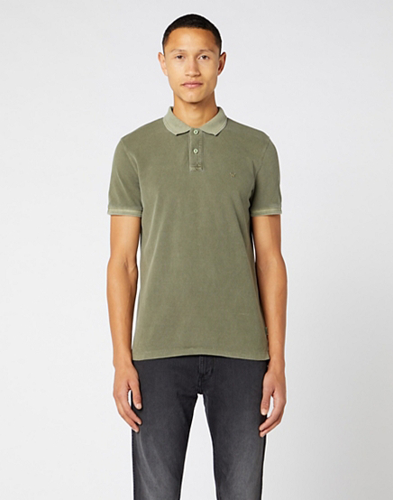 Wrangler Short Sleeve Overdye Polo in Dusty Olive