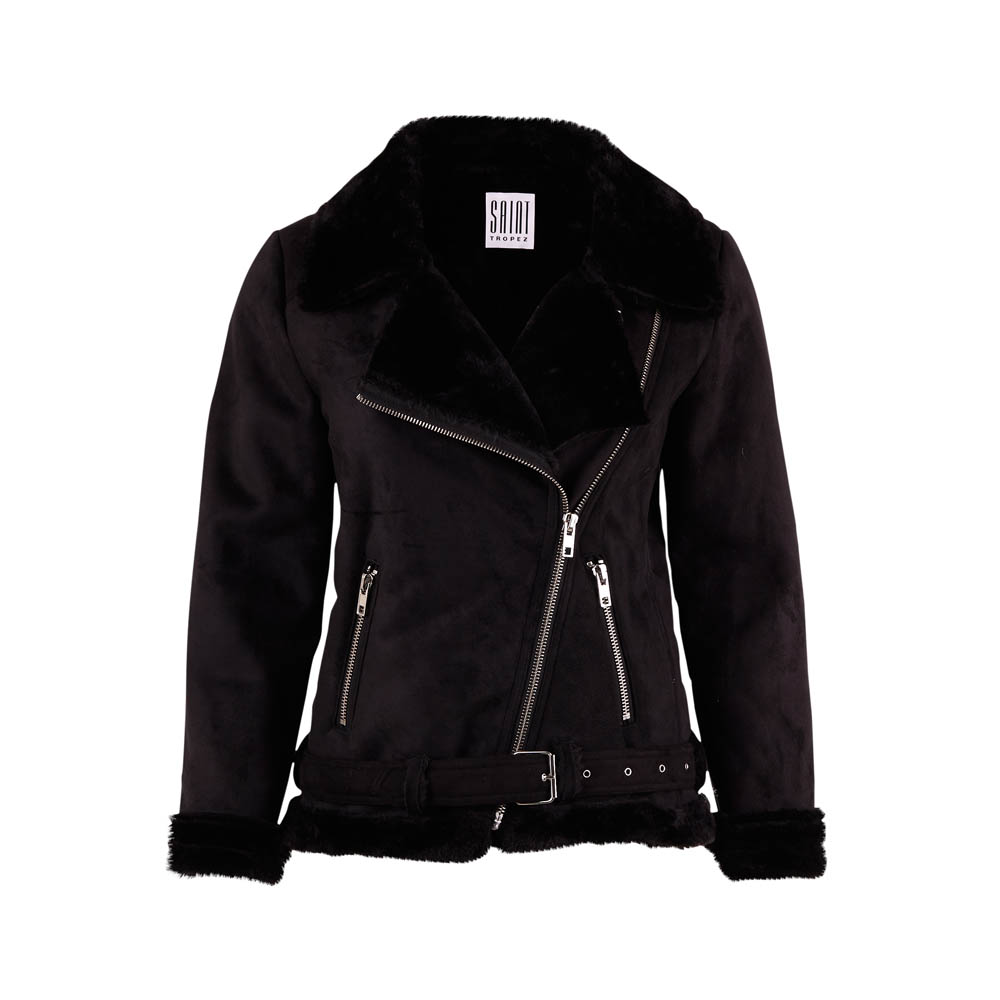 Saint Tropez Teddy Biker Black Jacket