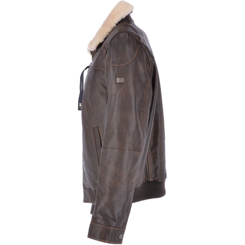 TRAPPER ANTONIO BROWN LEATHER PILOT JACKET