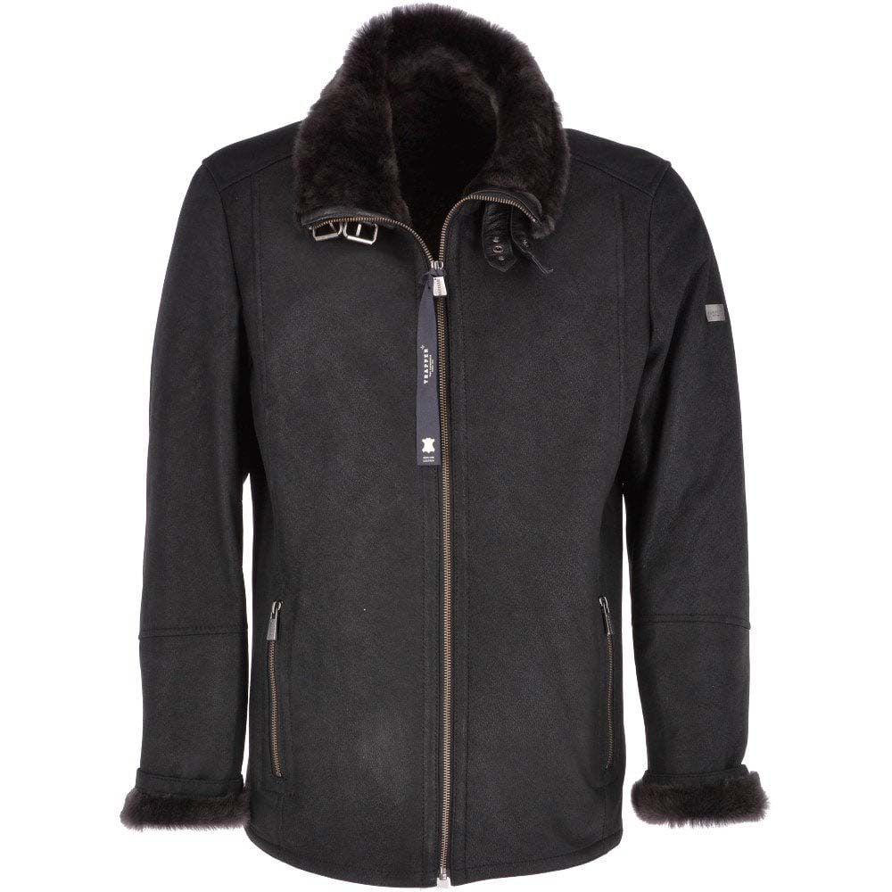 Trapper Anton Black Leather Sheepskin Flying Jacket
