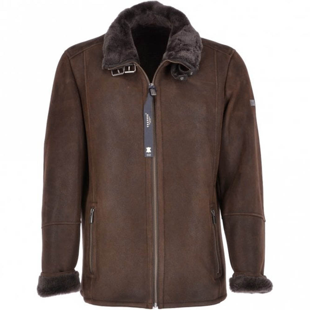 Trapper Anton Brown Leather Sheepskin Flying Jacket