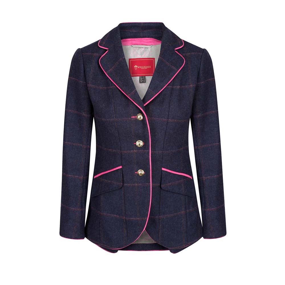 Welligogs Isobel Navy and Pink Tweed Jacket