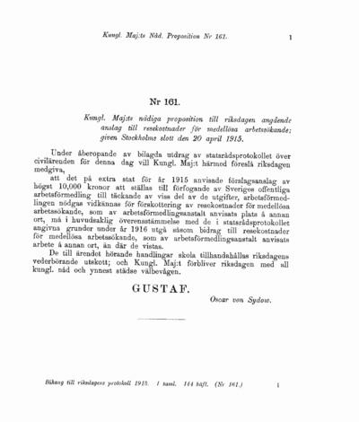 Omslaget till prop. 1915:161