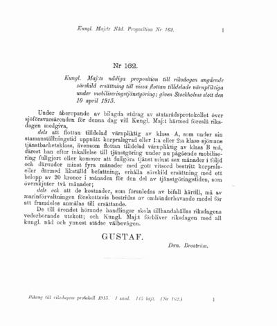 Omslaget till prop. 1915:162