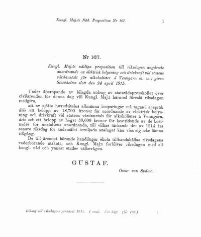 Omslaget till prop. 1915:167
