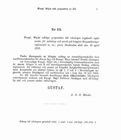 Omslaget till prop. 1915:172