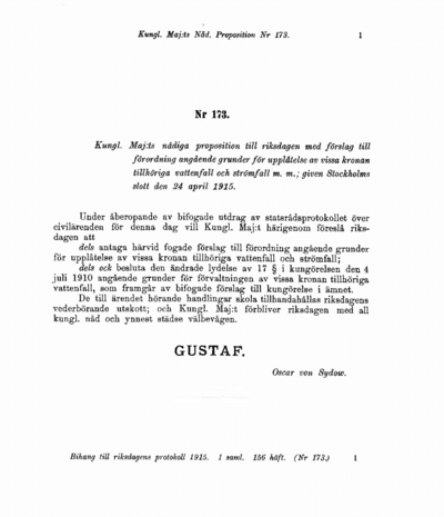 Omslaget till prop. 1915:173