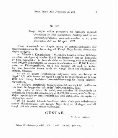 Omslaget till prop. 1915:175