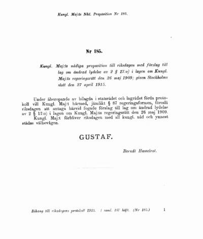Omslaget till prop. 1915:185