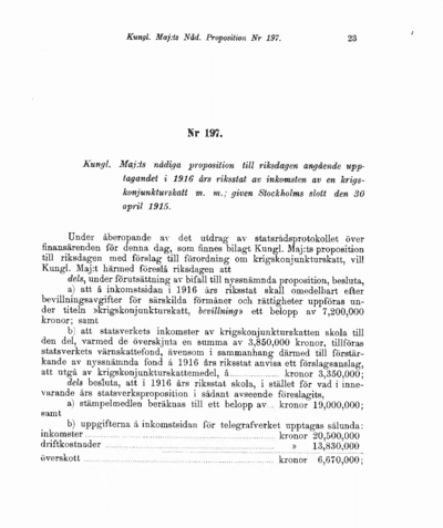 Omslaget till prop. 1915:197