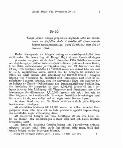 Omslaget till prop. 1916:10