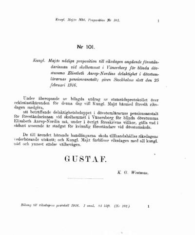 Omslaget till prop. 1916:101