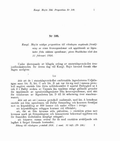Omslaget till prop. 1916:109