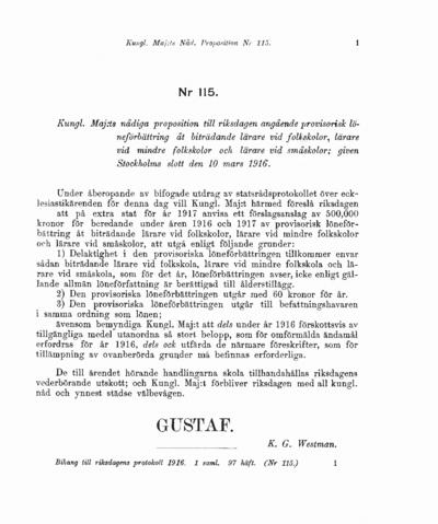Omslaget till prop. 1916:115