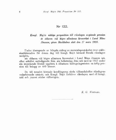 Omslaget till prop. 1916:122