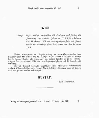 Omslaget till prop. 1916:132