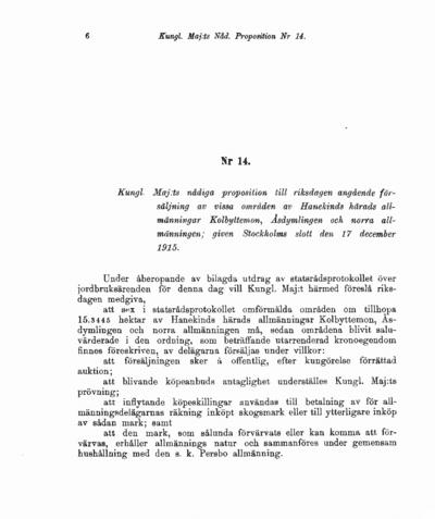 Omslaget till prop. 1916:14