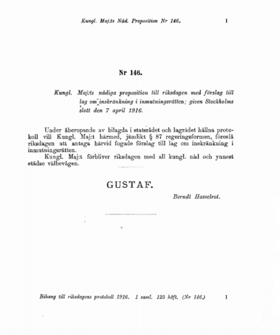 Omslaget till prop. 1916:146