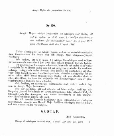 Omslaget till prop. 1916:150