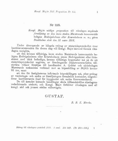 Omslaget till prop. 1916:155