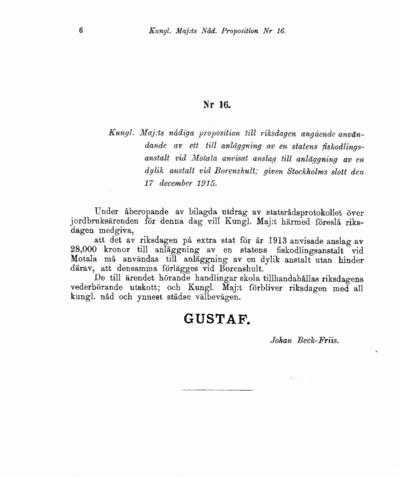 Omslaget till prop. 1916:16