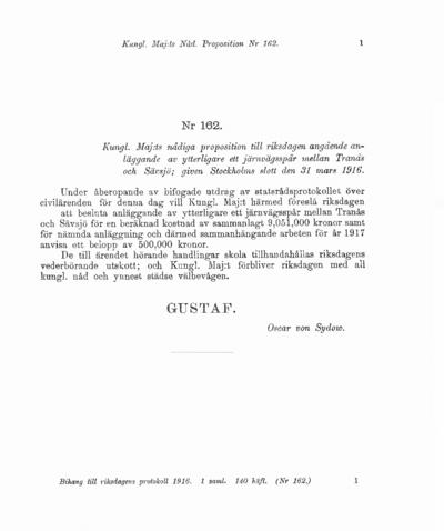 Omslaget till prop. 1916:162