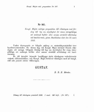 Omslaget till prop. 1916:167