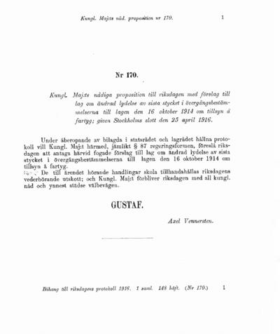 Omslaget till prop. 1916:170