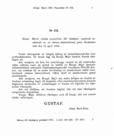 Omslaget till prop. 1916:172