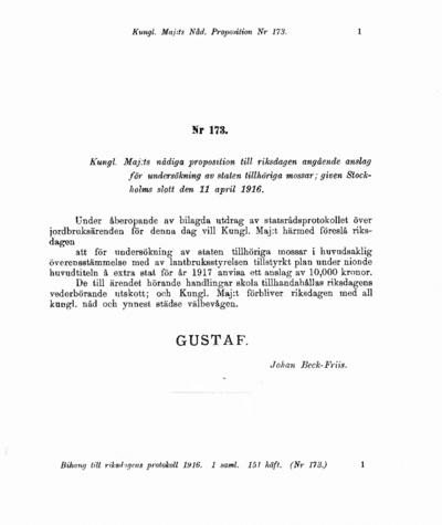 Omslaget till prop. 1916:173