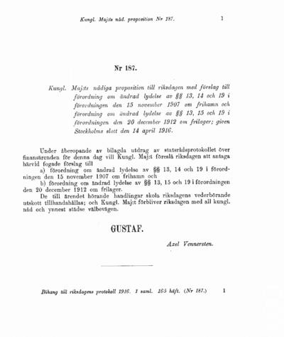 Omslaget till prop. 1916:187