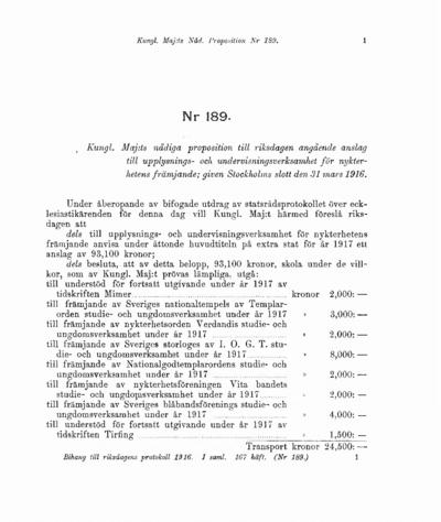 Omslaget till prop. 1916:189