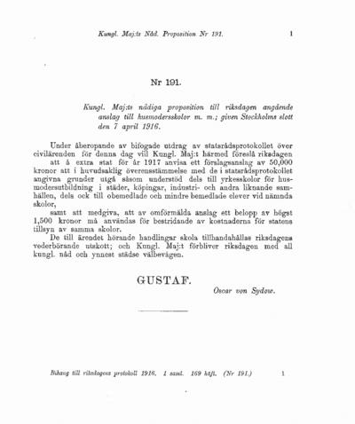 Omslaget till prop. 1916:191