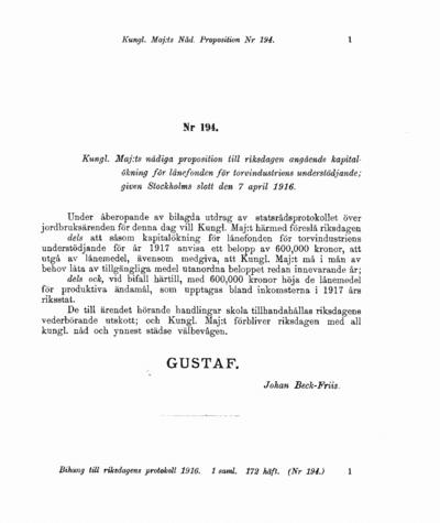 Omslaget till prop. 1916:194