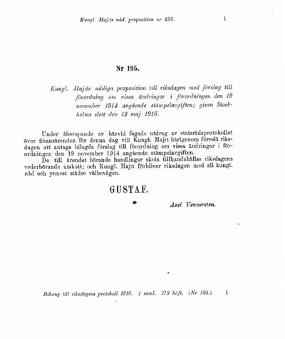 Omslaget till prop. 1916:195