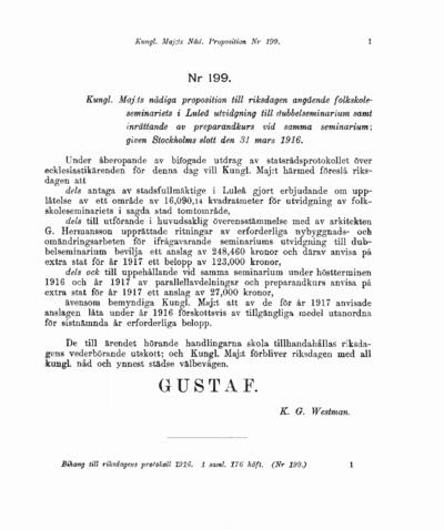 Omslaget till prop. 1916:199